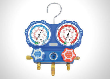 China 80mm Two Valve Manifold Gauge Set R404A R410A With Charging Hose factory