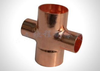 China Copper Pipe Reducing Cross Refrigeration Pipe Fittings For Plumbing And HVAC System factory