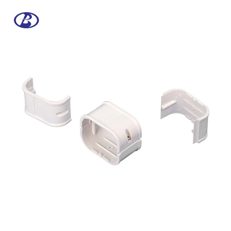 130mm White PVC Split Air Conditioner Pipe Cover Joint Decorative Duct Kits Straight Coupling supplier