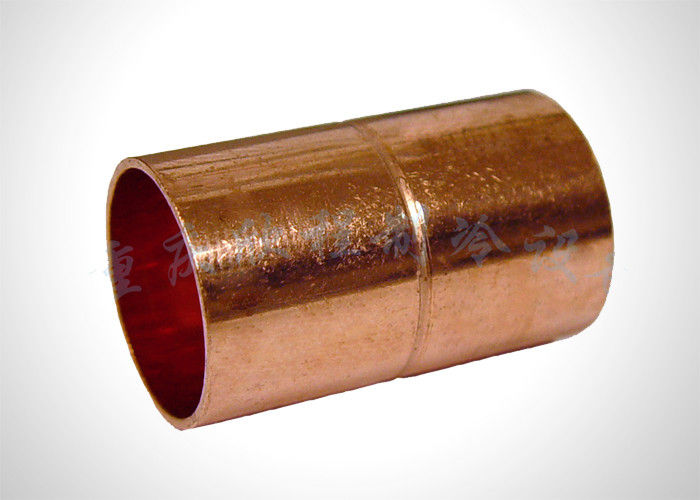 Straight Refrigeration Pipe Fittings Copper Pipe Coupling For HVAC / Plumbing supplier