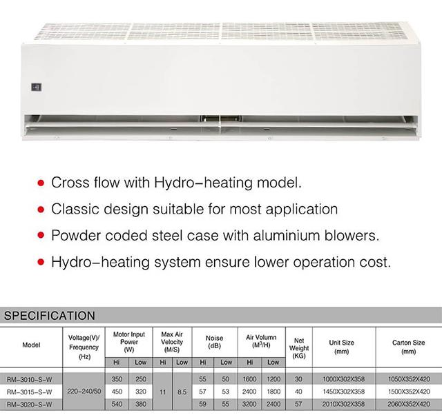 Hydro Heating Industrial Door Air Curtains Switch Control High Efficient