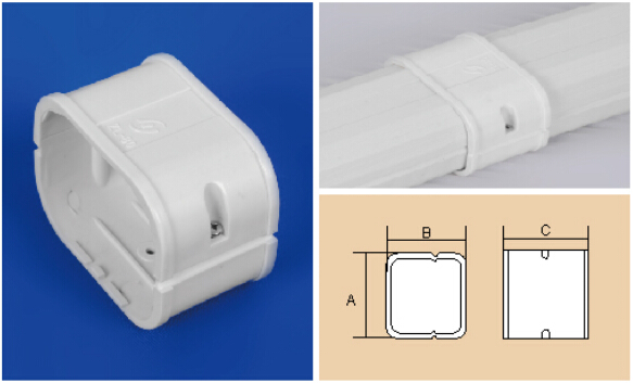 80mm White PVC Decorative Duct Kits Split Air Conditioner Pipe Cover  Joint Straight Coupling