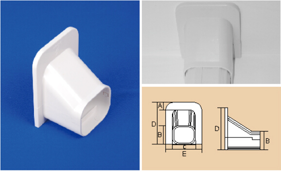 80mm 100mm White PVC Decorative Duct Kits Split Air Conditioner Pipe Cover Fitting Ceiling Cap